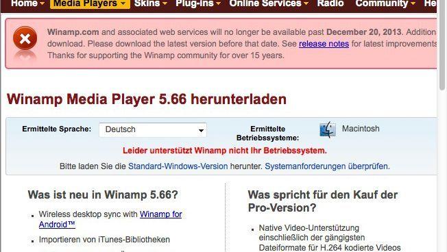 Winamp-Website: Schnell die aktuelle Version laden, bevor es vorbei ist