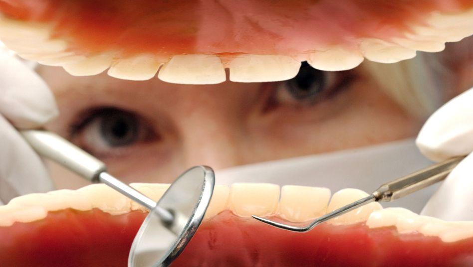 Zahnarzt mit Zahnprothese: Vorsorgeuntersuchungen beginnen mit der Geburt