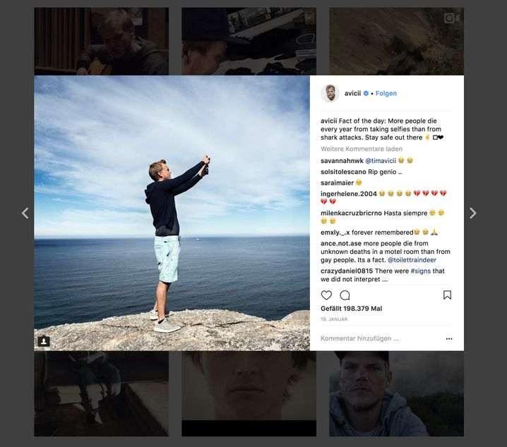 An image from Avicii's Instagram account