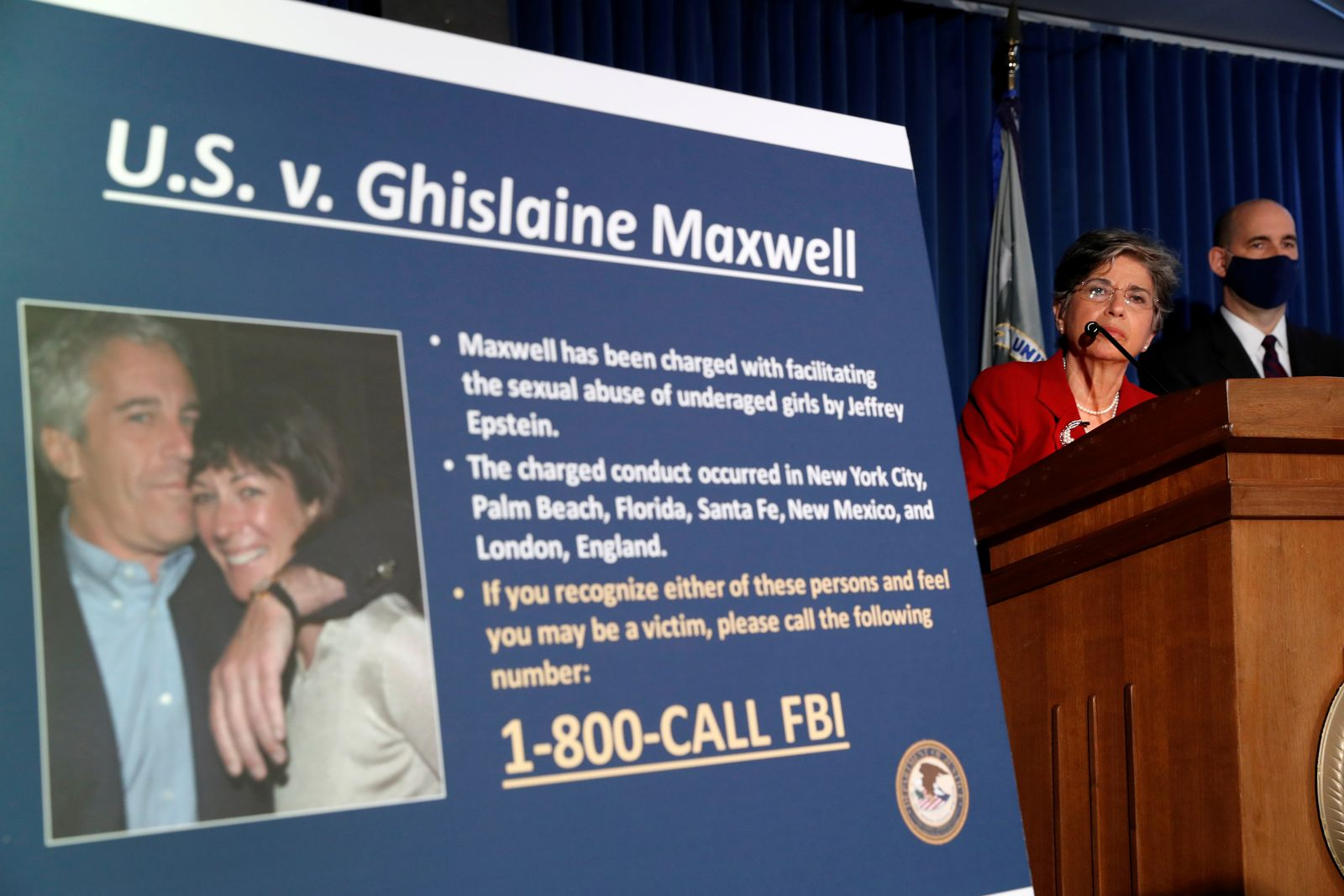 FILE PHOTO: Audrey Strauss, Acting United States Attorney for the Southern District of New York announces charges against Ghislaine Maxwel in New York