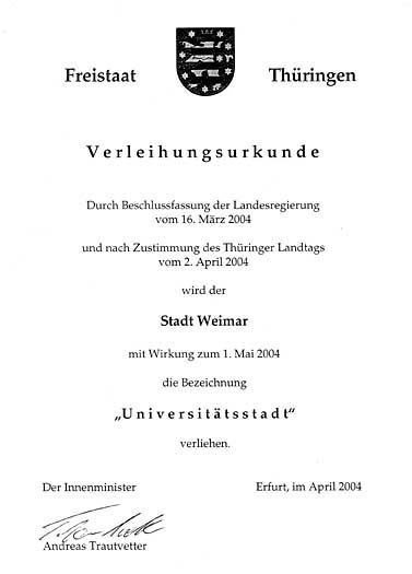 Das Diebesgut: Verleihungsurkunde zur Universitätsstadt