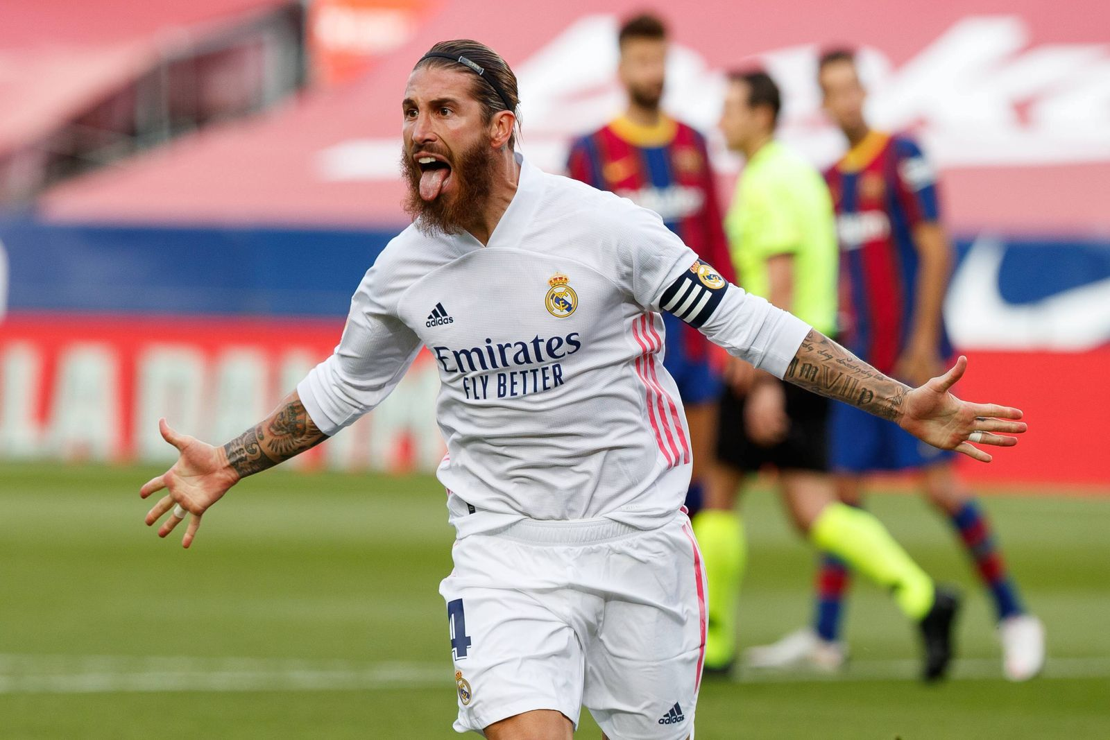 Spanish La Liga soccer match Barcelona vs Real Madrid at Camp Nou Stadium, Barcelona, October 24, 2020 Sergio Ramos cel