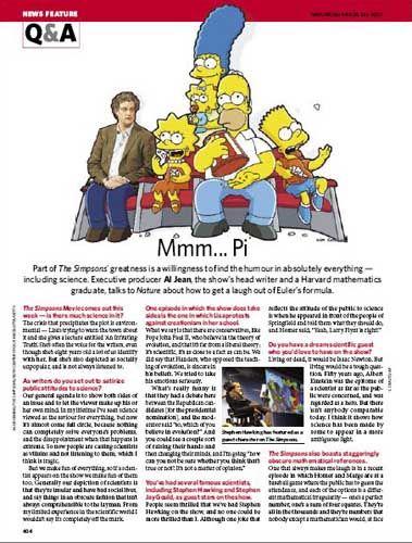 """""""Simpsons""""-Produzent Al Jean im """"Nature""""-Interview: Hawking als Gaststar und Mathe-Witze im Gepäck"""