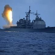 An American Aegis-equipped cruiser fires a missile during a U.S. Navy ballistic missile flight test June 22, 2006.