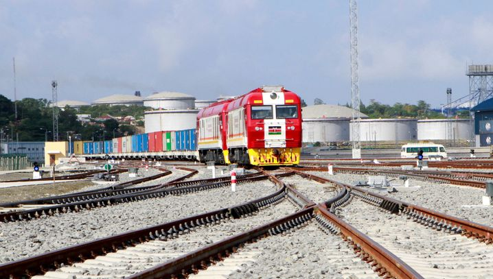 A train in the Kenyan coastal city of Mombasa on a new line constructed by China.