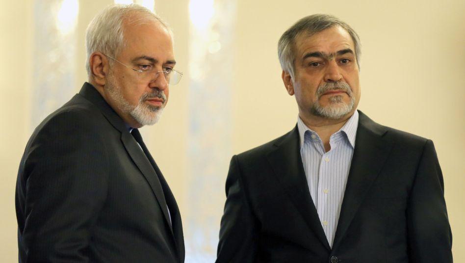 Iranischer Außenminister Javad Zarif (l.) und Hossein Fereydoun (r.)