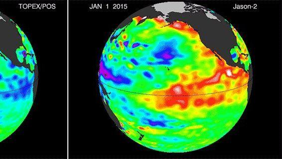 Vergleich der Entwicklung des Meeresspiegels 2015 und 1997 (Rot steht für höheres Wasser als normal): Bei einem El Niño schwappt warmes Wasser nach Osten, so dass die Pegel steigen. 1997 hatte sich der tropische Pazifik zuletzt so stark aufgeheizt wie derzeit - damals sorgte ein extremer El Niño weltweit für Wetterkapriolen.