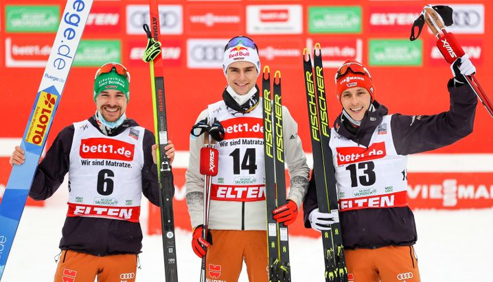 Fabian Rießle, Vinzenz Geiger und Eric Frenzel auf dem Podium