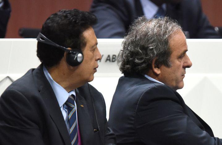 Concacaf-Präsident Banegas (links neben Uefa-Präsident Platini): In Zürich festgenommen