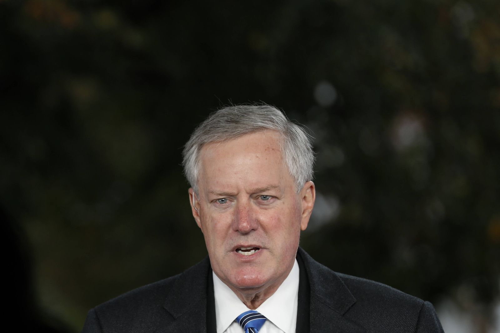 White House Chief of Staff Mark Meadows speaks outside the West Wing of the White House in Washington, DC. on Sunday, O