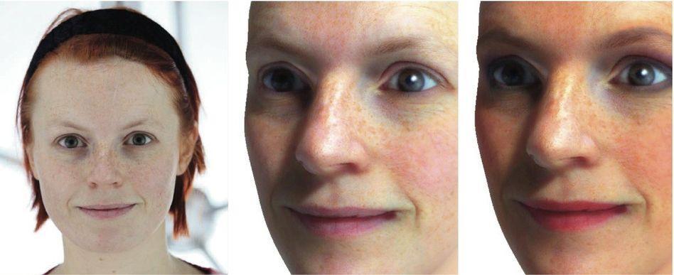 Probandin, Modellkopf ohne, mit vorgeschlagenem Make-up