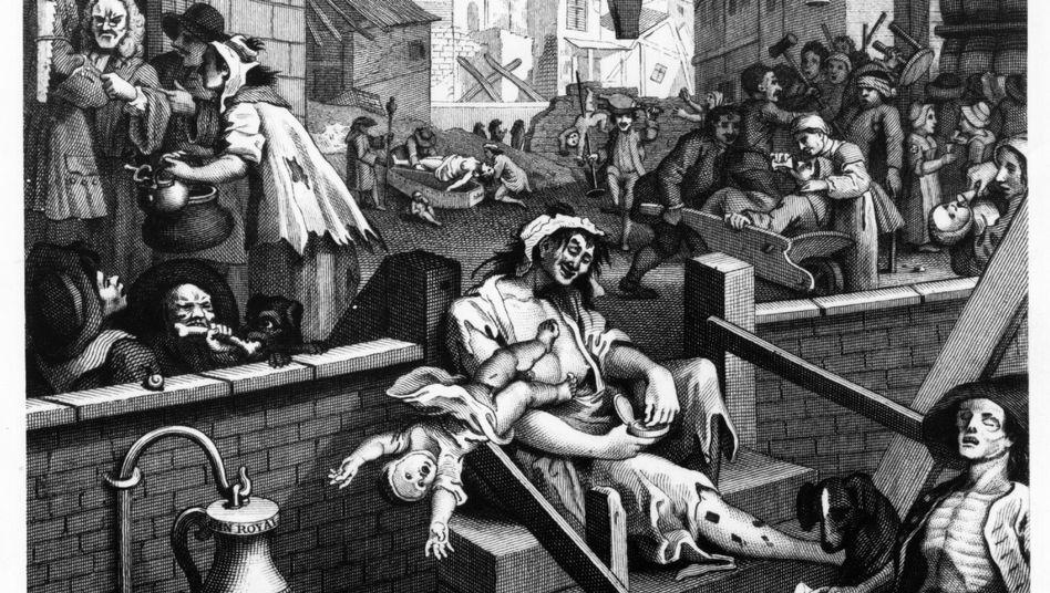 """""""Beer Street and Gin Lane"""" von William Hogarth, London, 1751"""