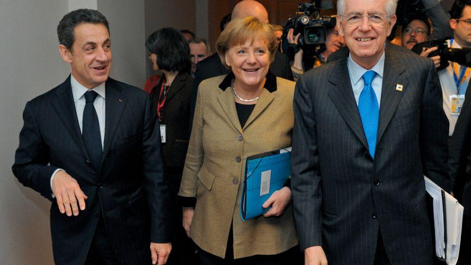 Politiker Sarkozy, Merkel, Monti: Der EU-Gipfel hat sich auf einen Fiskalpakt geeinigt