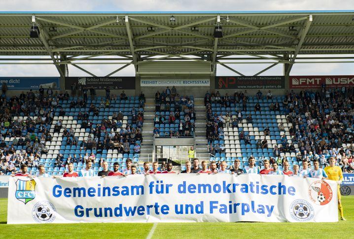 Aktion im Chemnitzer Stadion (im September 2018)