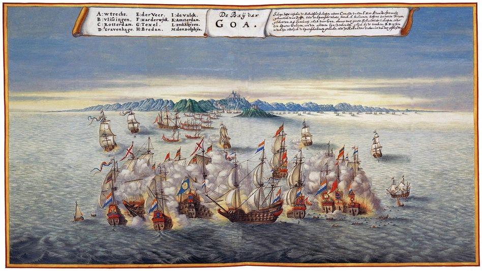 Globaler HandelskriegMit Vasco da Gamas Landung in Indien 1498 begann ein weltweites Ringen um Wirtschaftsmacht und kolonialen Besitz. Vor Goa lieferten sich Spanier und Holländer 1638 Seegefechte (aquarellierte Zeichnung um 1670, Österreichische Nationalbibliothek Wien).