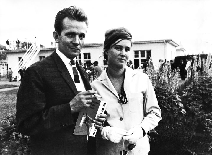 Ehepaar Klaus Röhl, Ulrike Meinhof beim Hamburger Galopp-Derby 1963