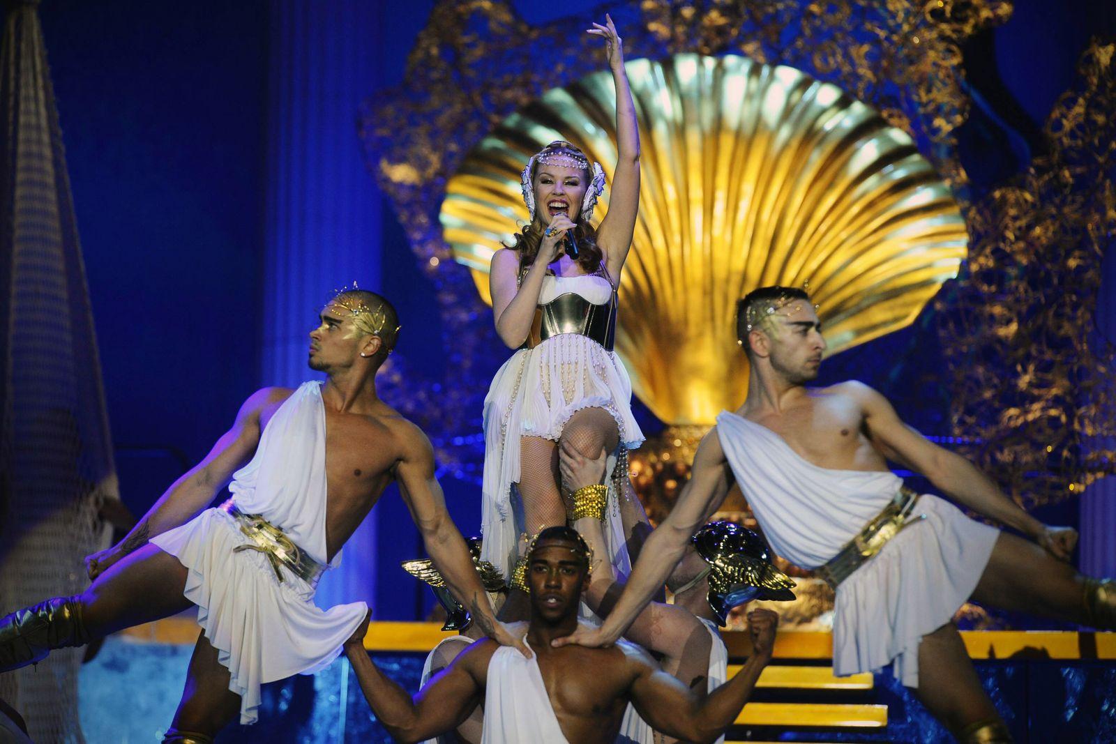 MERKSEM BELGIUM Australian singer Kylie Minogue performs on the stage of Antwerp Sportpaleis p