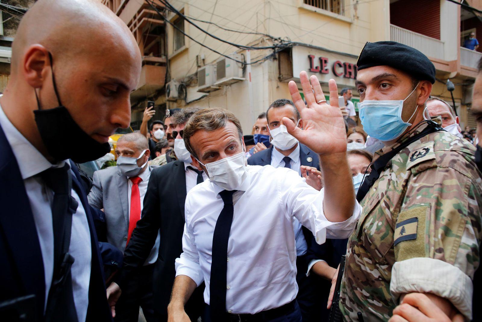 French President Emmanuel Macron visits devastated streets of Beirut