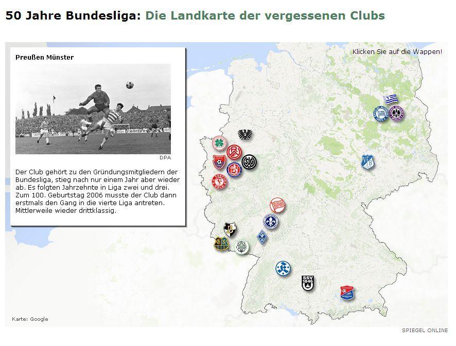 SPON Grafik / Bundesliga / Landkarte