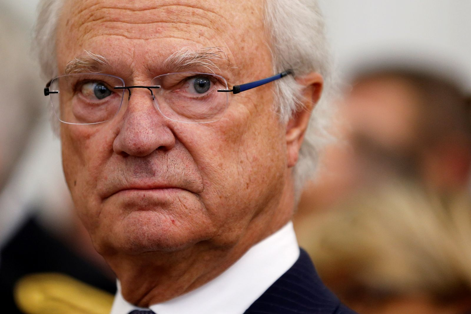 Sweden's King Carl XVI Gustaf attends a ceremony at the city hall as part of a visit for the bicentenary of the Swedish throne in Pau