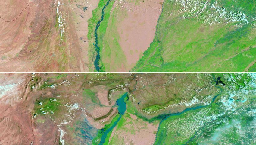Indus in Pakistan: Monsun lässt den Fluss stark anschwellen.
