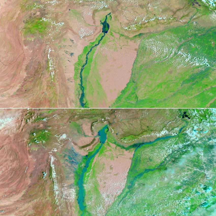 Satellitenbild Pakistan / Flut