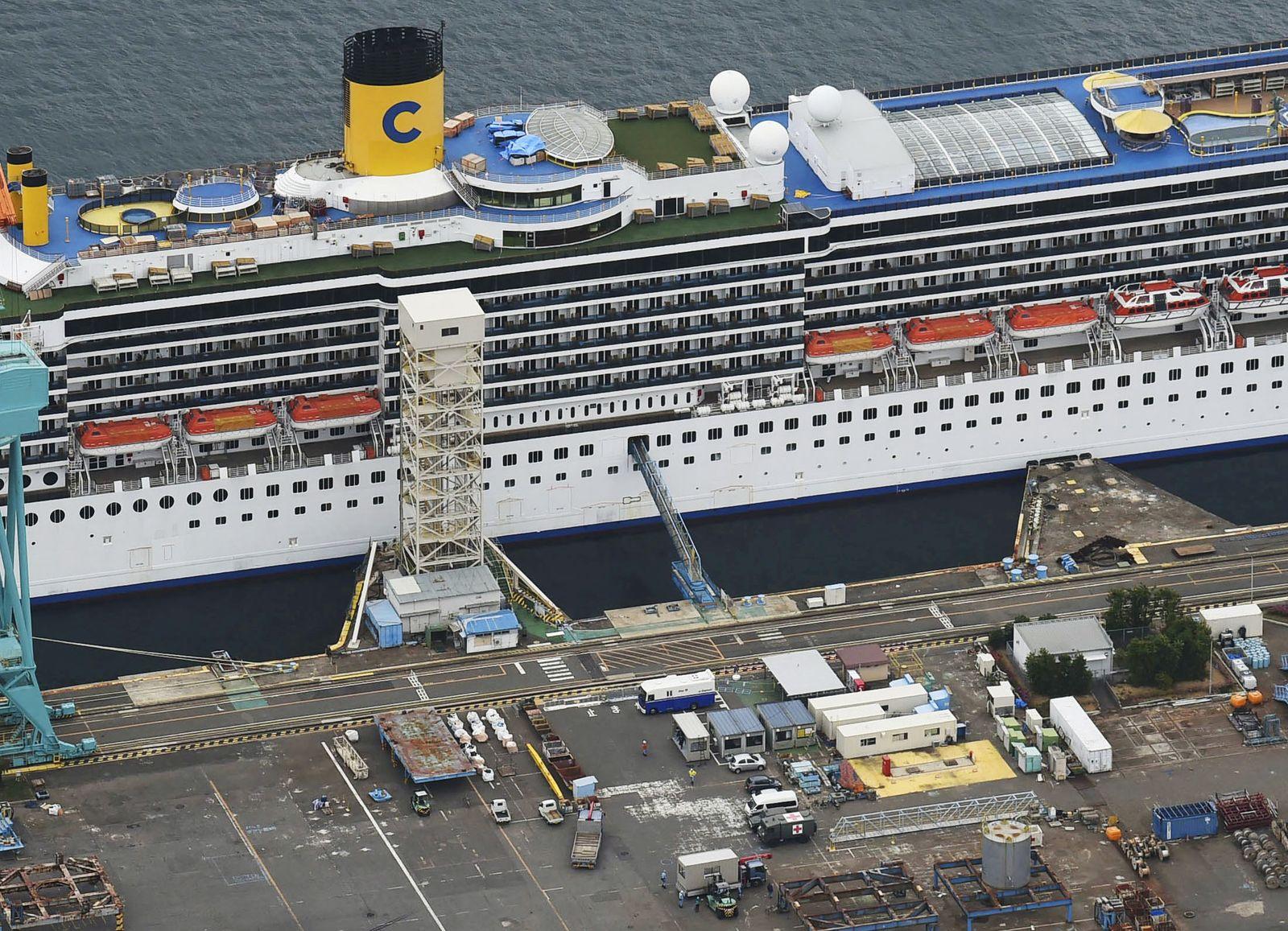 An aerial view shows Italian cruise ship Costa Atlantica in Nagasaki, Japan