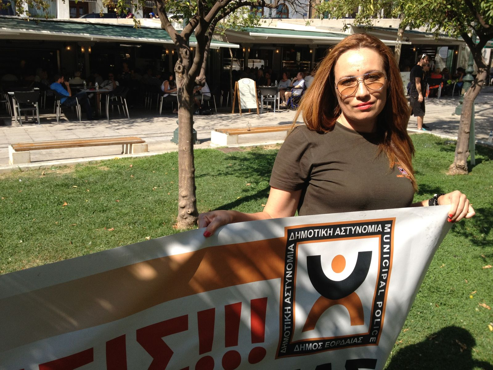 Griechenland / Protest / Kommunalpolizistin Vasiliki Pagouni