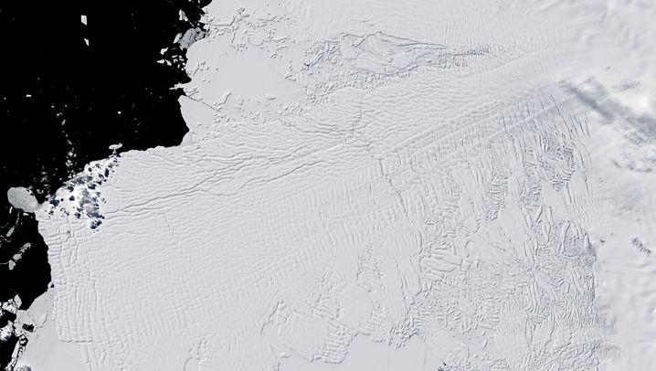 Thwaites-Gletscher am 2. Dezember 2001 (links) und am 28. Dezember 2019 (rechts): Für den Vorher-nachher-Vergleich schieben Sie den Regler nach rechts und links