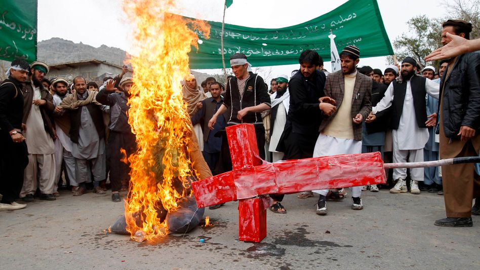 A demonstration in Jalalabad province on Tuesday against Sunday's massacre.