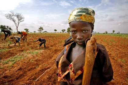A young girl takes a break from tilling a field with her family in southern Niger