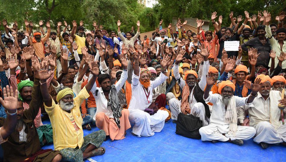 Protest gegen einen Lynchmob in Ahmedabad