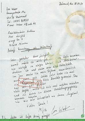 Yvonne Hackl (FH Dortmund): 3. Preis für die Idee mit der schludrigen, fleckigen Bewerbung.