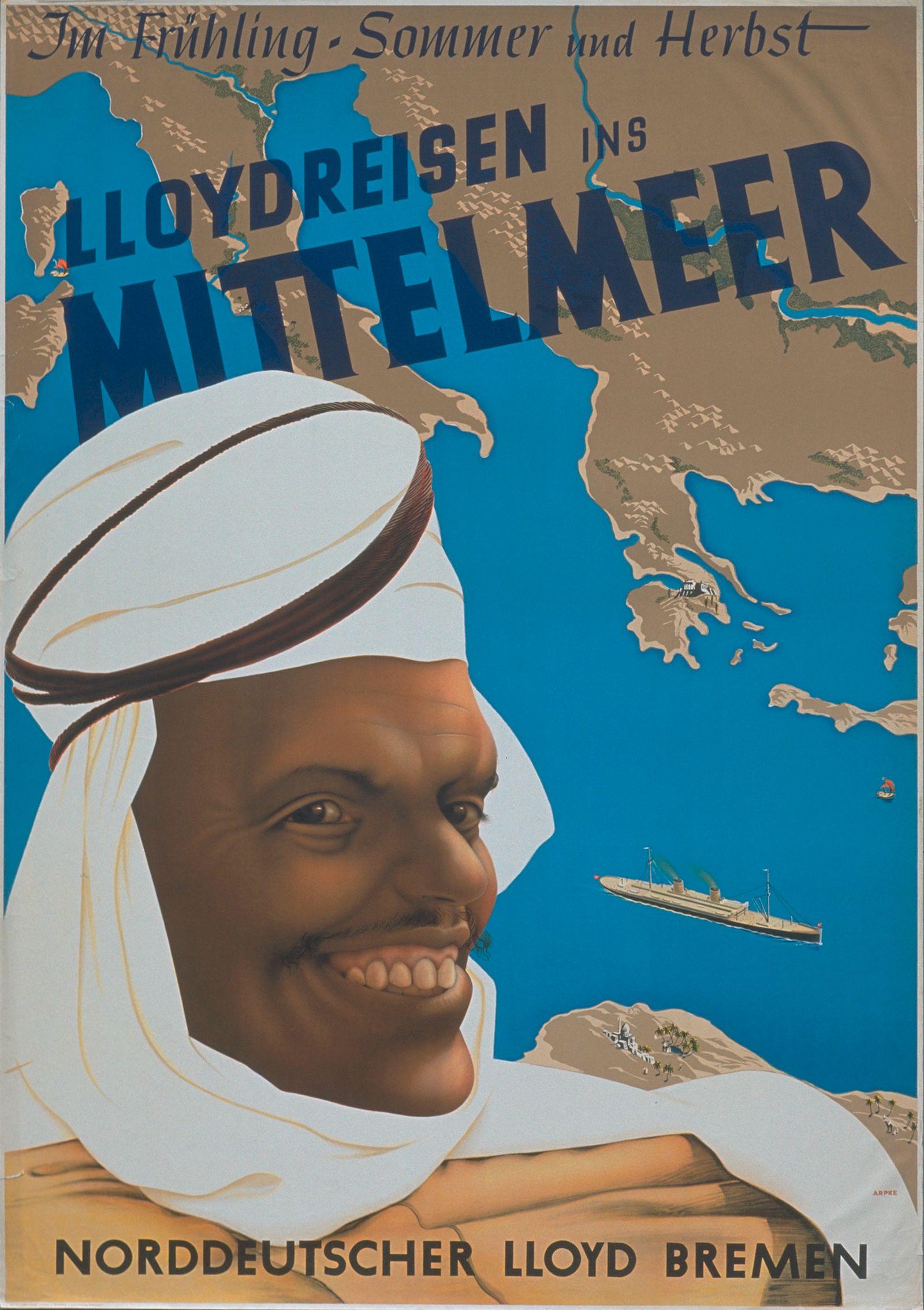 """Werbeplakat für """"Lloydreisen ins Mittelmeer"""" von Norddeutscher Lloyd Bremen"""