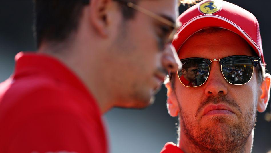 "Charles Leclerc (links), Sebastian Vettel: ""giftige Stimmung""."