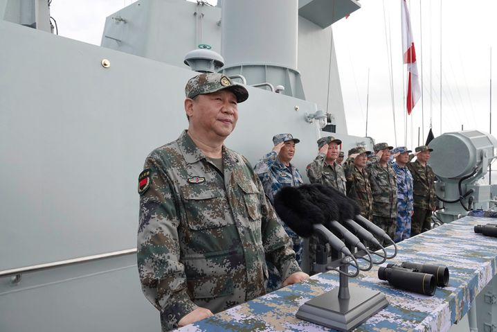 Chinese President Xi Jinping during a visit to a naval base on the South China Sea island of Hainan