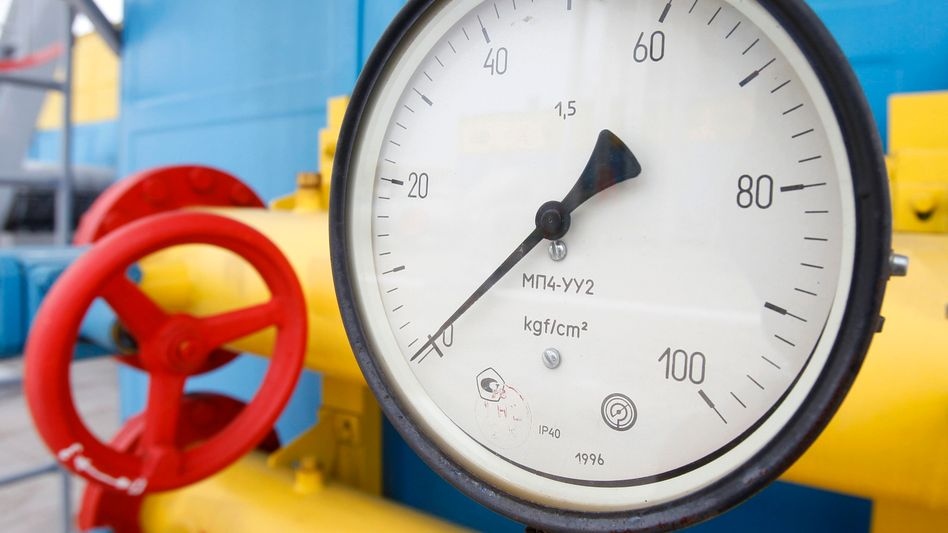 Under pressure: A gauge is pictured at an underground gas storage facility in the village of Mryn, 120 kilometers north of Kiev in this May 2013 archive photo.