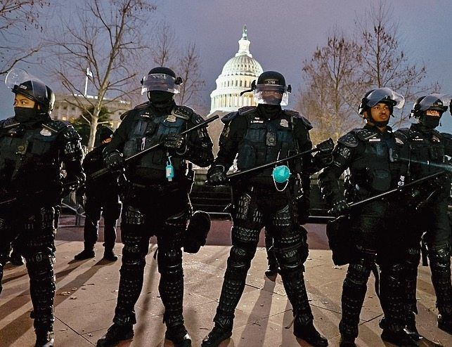 Police standing guard in Washington, D.C.