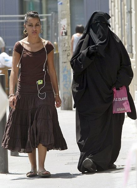A niqab wearer in Marseille: A Danish Conservative Party politician has called for a ban on burqas.