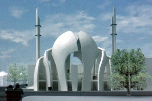 A computer-generated image of the mosque to be built in the Ehrenfeld district of Cologne. The building will hold up to 4,000 worshippers.