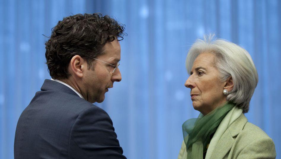 Euro-Gruppen-Chef Dijsselbloem, IWF-Direktorin Lagarde: Zehn Milliarden Euro für Zypern