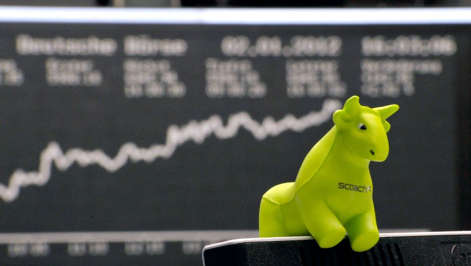 Plüsch-Bulle an der Börse: Symbol für den Optimismus