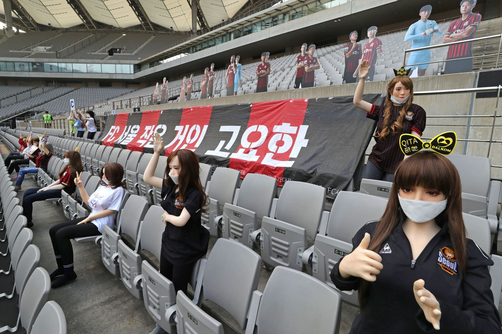 South Korean soccer club apologises for using sex dolls as cheering mannequins in empty stadium, Seoul, Korea - 17 May 2020