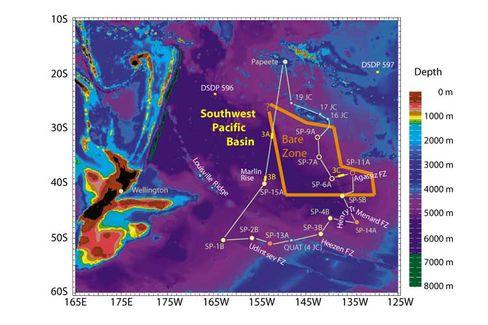 """Tiefsee-Gebiet ohne Sedimentbedeckung (""""Bare Zone"""") im südwestlichen Pazifikbecken: Nackte Platte von der Fläche des Mittelmeers"""