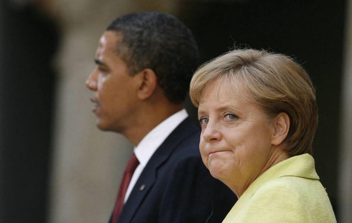 Barack Obama und Angela Merkel (in Dresden): Ab ins Gartenambiente