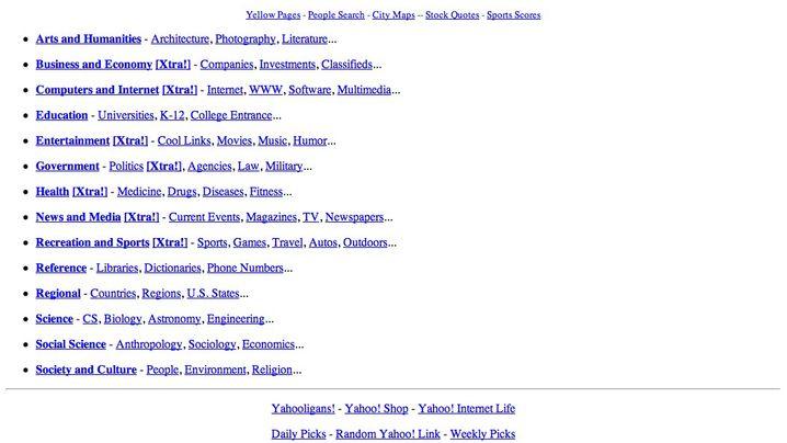 Web-Portal: So sah Yahoo früher aus