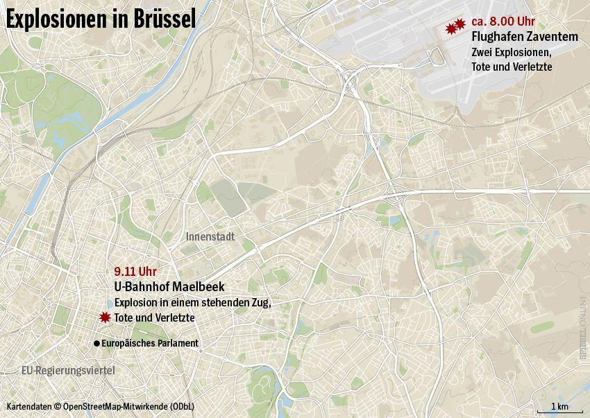 Karte - Explosionen in Brüssel - Orte