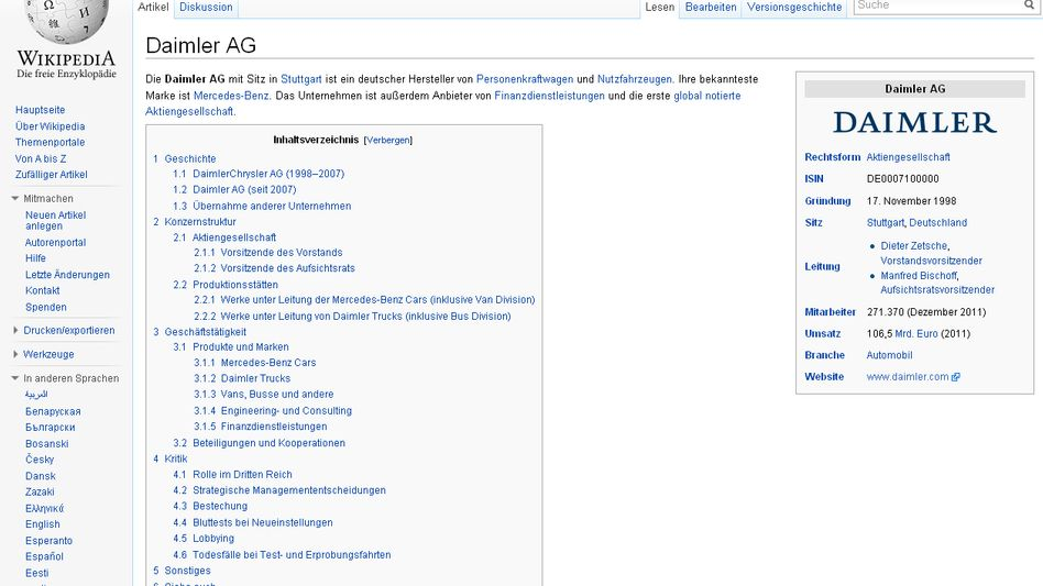 Daimler's Wikipedia page, with the deleted information restored.