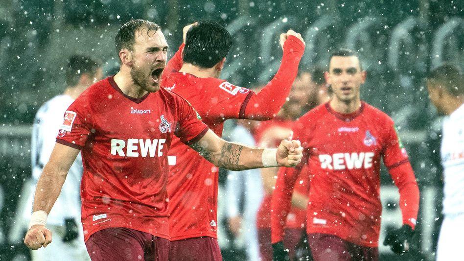 Kölner Jubel nach dem ersten Sieg in Mönchengladbach seit November 2016
