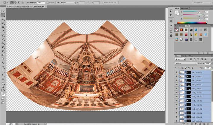 Photomerge: Die Photoshop-Funktion schafft keine befriedigende Projektion